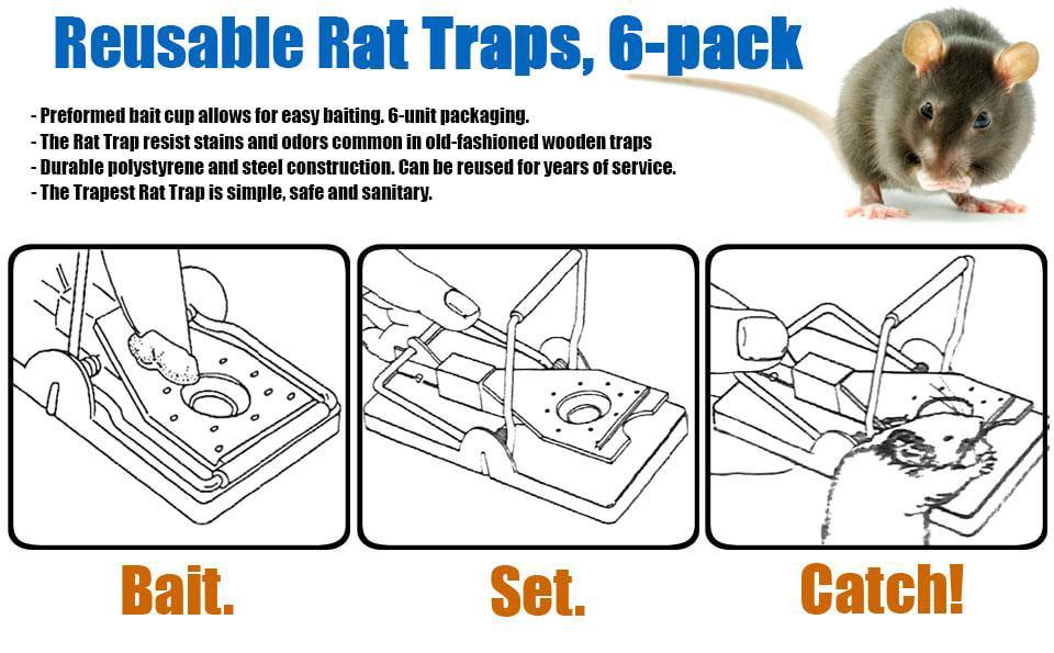 Aspectek Mouse Trap, Rat Trap Humane Kill, Reusable Easy Set Rat Snap Trap,  Mice Rodent Traps, Pets Protector, The Best Mouse Catcher 6 Pack