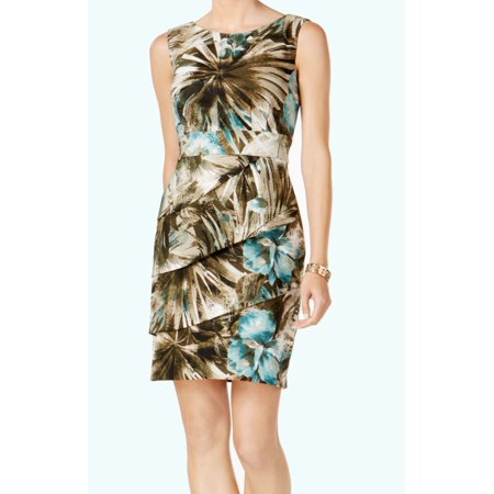Connected Apparel NEW Green Womens Size 10 Printed Tiered Sheath Dress
