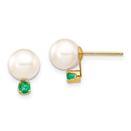 - ICE CARATS 14kt Yellow Gold 7 7.5mm White Round Freshwater Cultured Pearl Green Emerald Post Stud Ball Button Earrings Gemstone Fine Jewelry Ideal Gifts For Women Gift Set From Heart