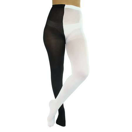 Black & White Two-Tone Jester Style Opaque Tights
