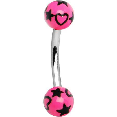 Black Eyebrow Ring - Pink and Black Hearts and Stars Eyebrow Ring