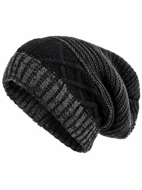 575e2b1b8a0 Product Image Gray Two-Tone Mens Winter Baggy Slouchy Knit Hat With Fur  Lining