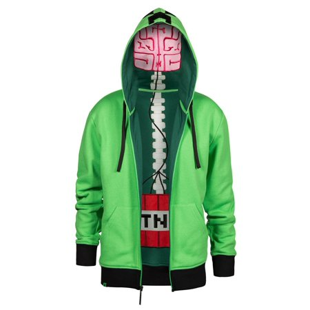 Minecraft Creeper Anatomy Youth Green Premium Zip-Up Hoodie, X-Small](Minecraft Zip Up Hoodie Youth)