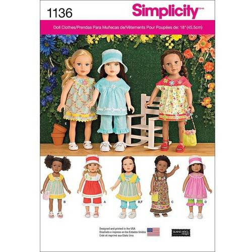 Simplicity One Size American Girl Doll Clothes Pattern, 1 Each American Girl Clothes Patterns