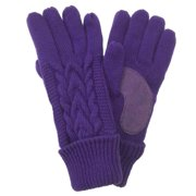 Isotoner Womens Solid Purple Cuffed Triple Cable Knit Gloves Fleece Lined