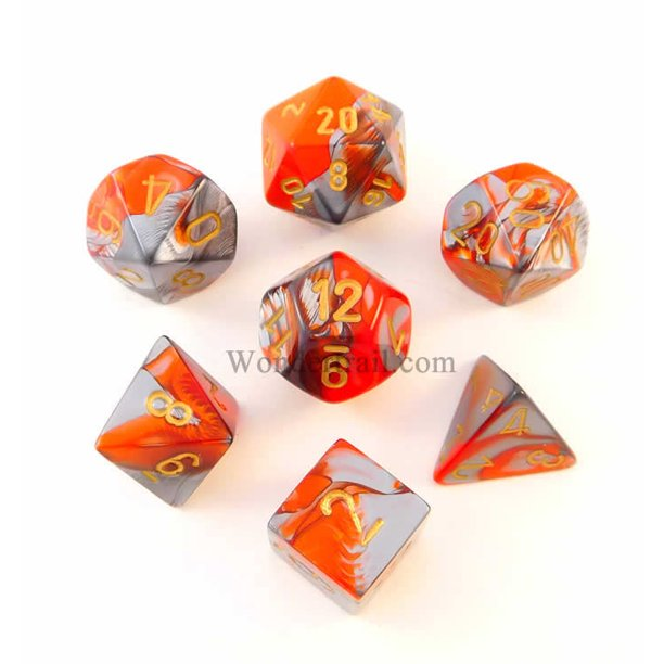 Orange And Steel Gemini Dice With Gold Numbers 7 Dice Set