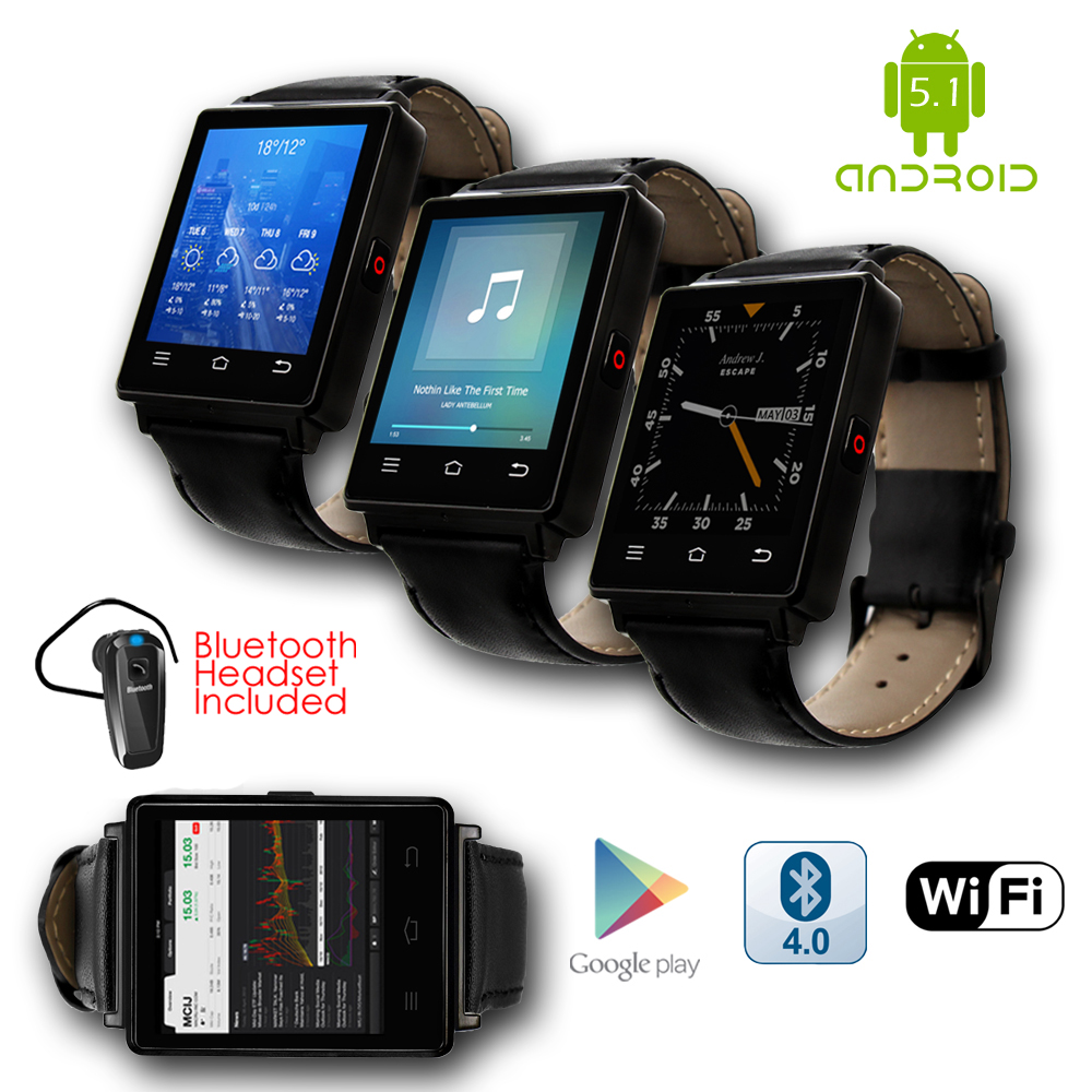 Indigi® GSM Unlocked 3G SmartWatch & Phone + Android 5.1 + Bluetooth 4.0 + WiFi + GPS + Heart Rate +
