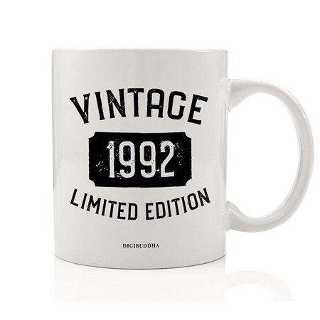 1992 Coffee Mug Born In the Birth Year Vintage Limited Edition Birthday Gift Idea 11oz Ceramic Beverage Tea Cup Great Present for Husband Wife Partner Family Best Friend Job Coworker Digibuddha