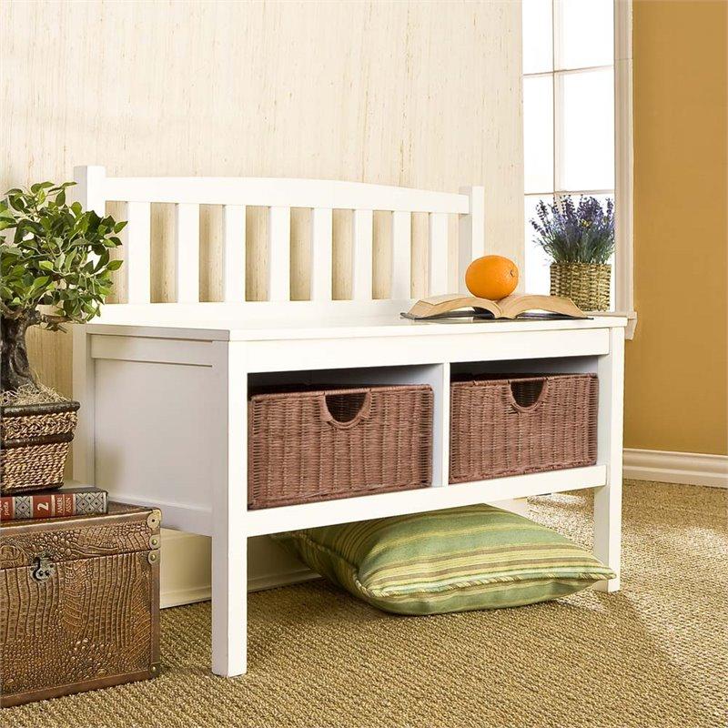 SEI - White Bench with Basket Storage