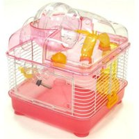 10 in. Clear Plastic Hamster-Mice Cage in Pink