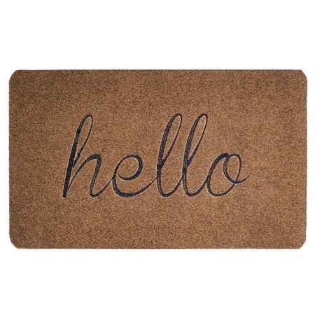 """Traffic Mat - Tayyakoushi Extra Hello Front Welcome Entrance Door Mats for Indoor Outdoor Entry Garage Patio High Traffic Areas Shoe Rugs Brown 30""""X18"""""""