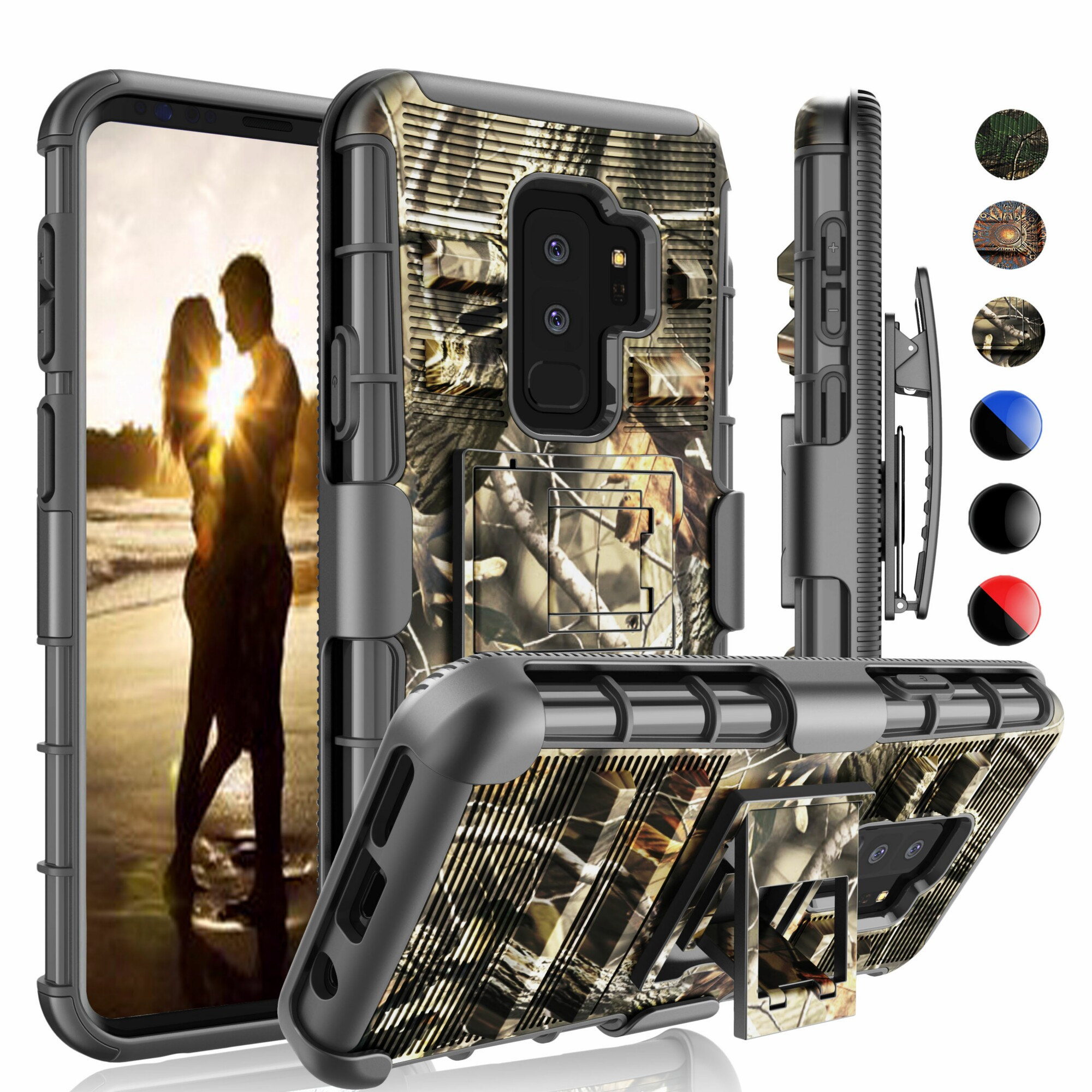 Galaxy S9 Plus Case, Galaxy S9 Plus Holster Belt Clip, Njjex Shock Absorbing Holster Locking Belt Clip With Kickstand Carrying Armor Camouflage Cases Cover For Samsung Galaxy S9 Plus -Relic