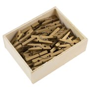 JAM Wood Clothespins, Gold, 50/Pack, Small 7/8 Inch Clips