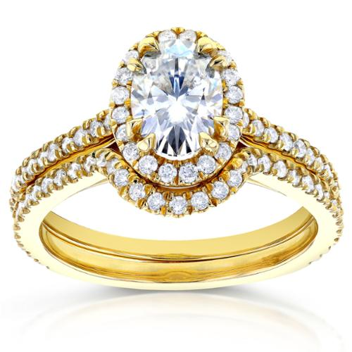 Annello  by Kobelli 14k Yellow Gold Oval Moissanite (HI) and 1/2ct TDW Diamond Halo Bridal Set