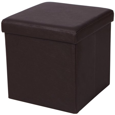 UBesGoo Folding Cube Faux PU Leather Ottoman Pouffe Storage Box Lounge Seat Footstools ()