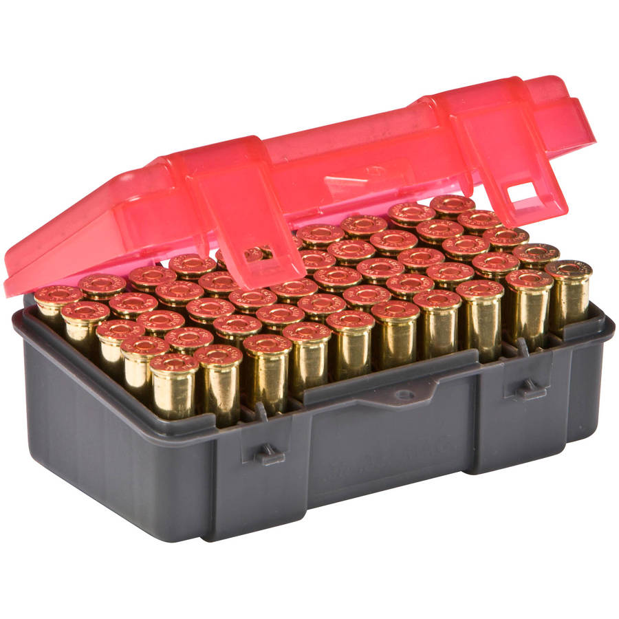 Plano Ammunition Box, Holds 50 Rounds of .357/.38 Sp/.38 Handgun Rounds, Charcoal/Rose, 6-Pack