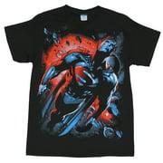 Superman (DC Comics) Mens T Shirt - Giant Rocketing Through Space Image on Bla (X-Large)