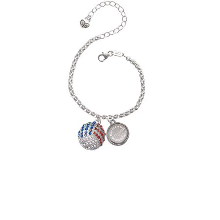 Silvertone Large Super Sparkle Crystal Red White & Blue Volleyball Run Like a Girl - Strong and Fierce Engraved Bracelet - Red White And Blue Bracelet