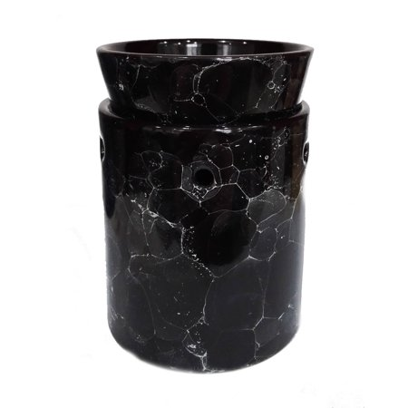 Black Marble Decorative Ceramic Tart Warmer - Set of Dish and Burner - Electric Candle and Oil Warmer - Works as Diffuser for Oils and Fragrances - Easy Plug in Feature