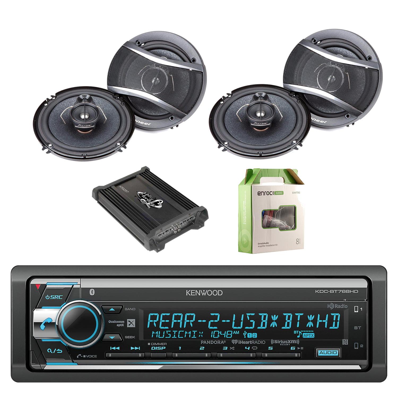 Kenwood Single Din CD AM FM Car Audio Receiver with Bluetooth with Pioneer 6.5 Inch 320-Watt 3-Way Car Coaxial... by EnrockAutomotive