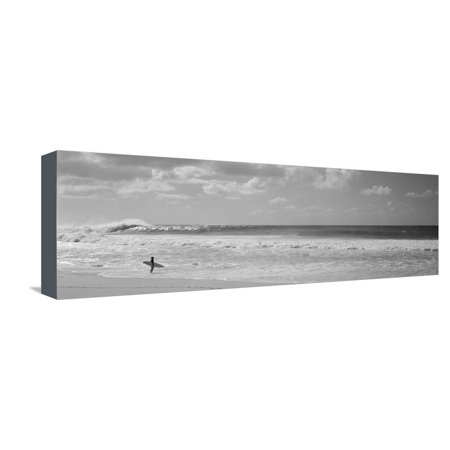 Surfer Standing on the Beach, North Shore, Oahu, Hawaii, USA Stretched Canvas Print Wall
