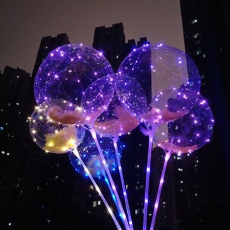 Pinata Stick (12 Bobo LED Balloons Light Up Transparent Balloon Birthday Party Decor +)