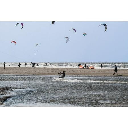 Canvas Print Kite Kite Surfing Ording St Peter Sand Beach Beach Stretched Canvas 10 x (Peter Lynn Kites)