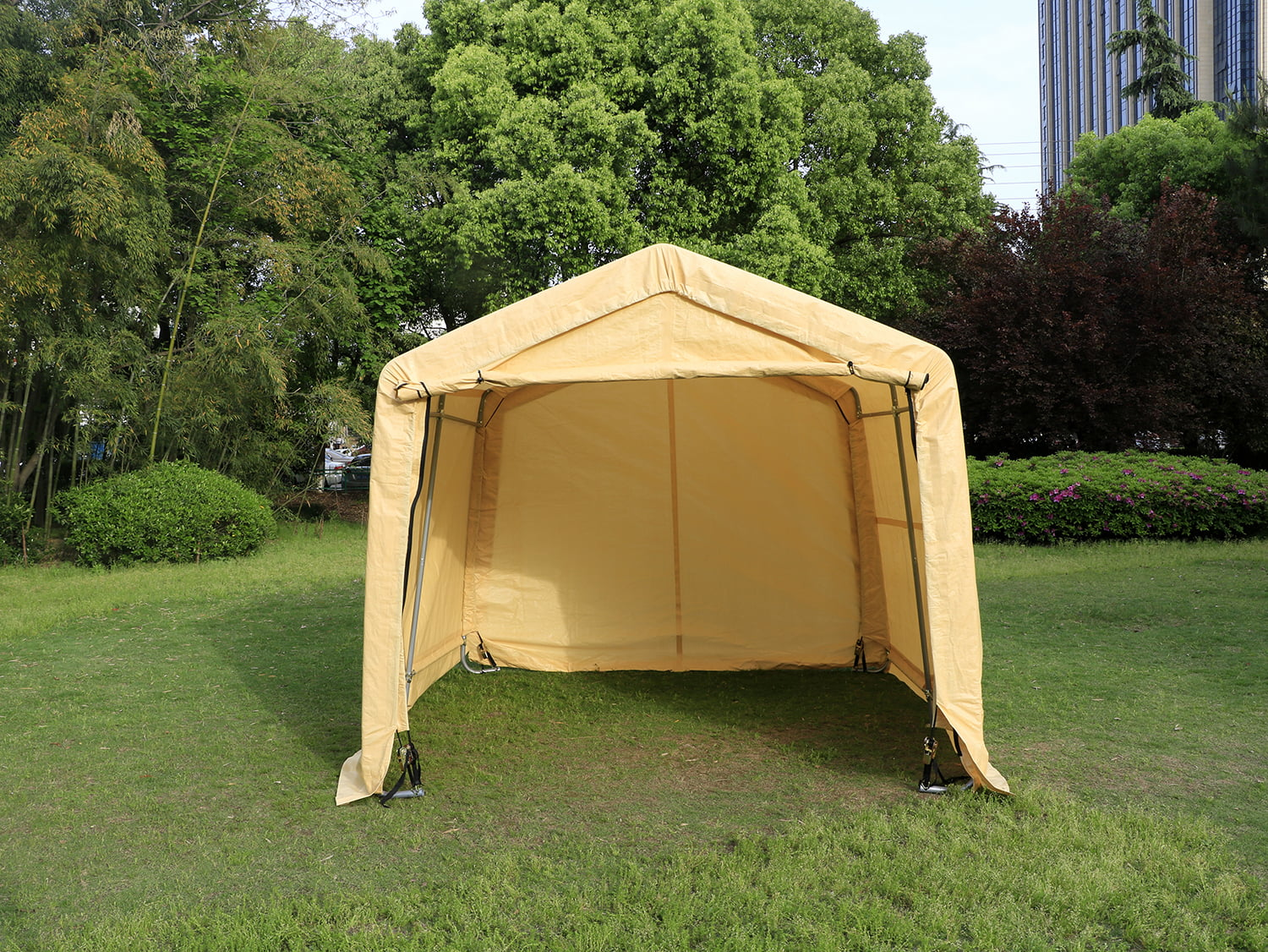 Outdoor 10x10x8FT Carport Canopy Tent Car Storage Shelter Garage w  Sidewall by