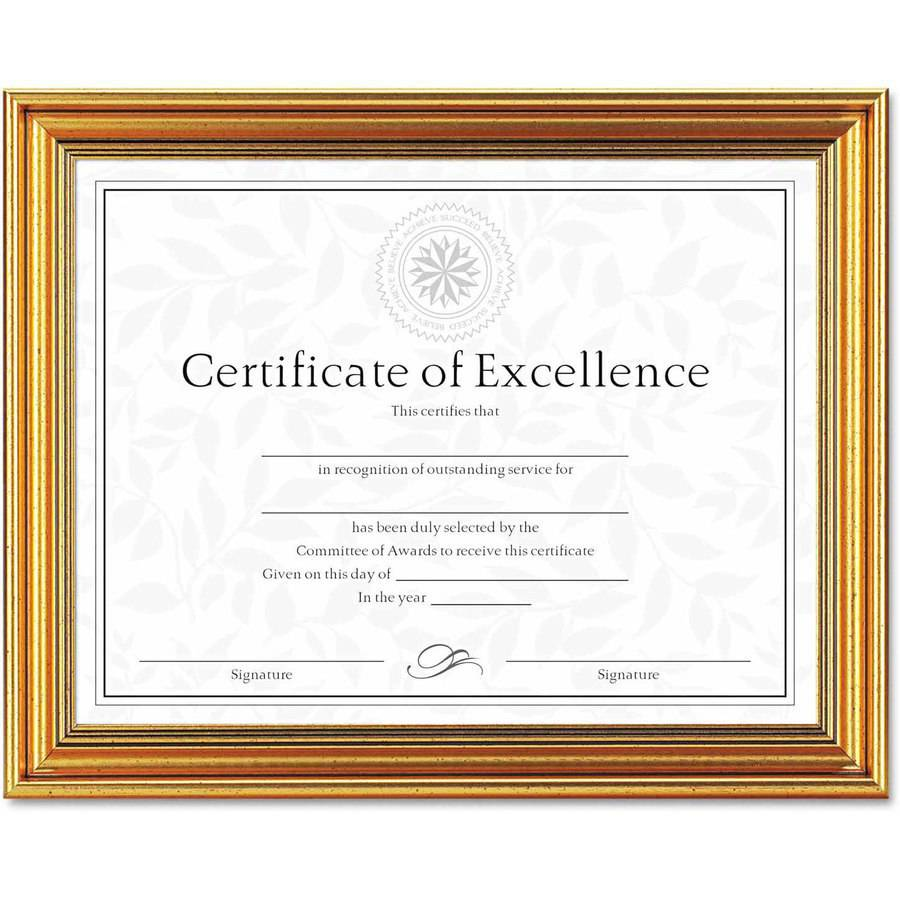 "DAX Antique Colored Document Frame with Certificate, Metal, 8-1/2"" x 11"", Gold"