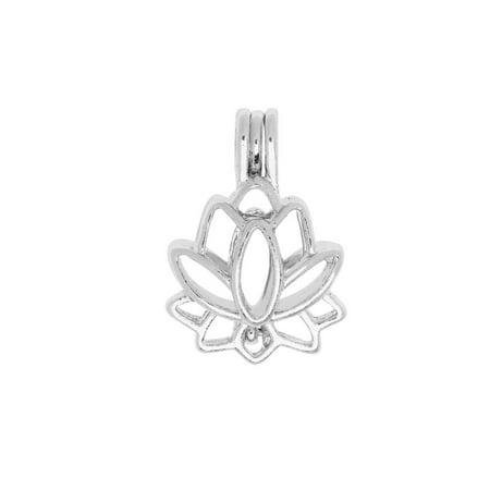 Flower Pendant Locket - Aromatherapy Diffuser Locket Pendant, Lotus Flower 17.5x25mm, 1 Pendant, Silver Tone