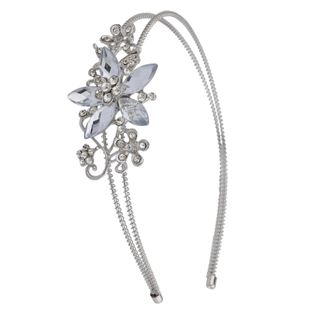 Lux Accessories Silvertone Crystal and Pave Stone Bridal Vine Flower Headband](Hair Vine)