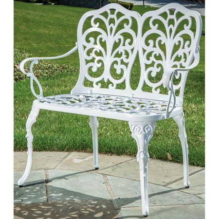 Alfresco Home Celine Cast Aluminum Outdoor Bench, White Finish