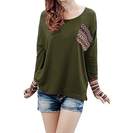 Black Thumbhole Stock (Women's Patchwork Casual Loose T-shirts Blouse Tops With Thumb Holes)