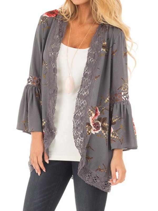Summer Womens Lace Floral Long Sleeve Tops Kimono Beach Sunblock Coat Cardigan