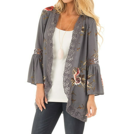 (JustVH Women's 3/4 Bell Sleeve Boho Floral Kimono Cardigan Cover up Lace Stitching Blouse Top)