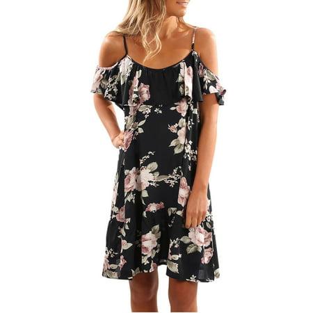 Mini Ruffle Convertible Dress - Mosunx Women Summer Floral Ruffles Dress Off Shoulder Mini Dress Beach Party Dress XL
