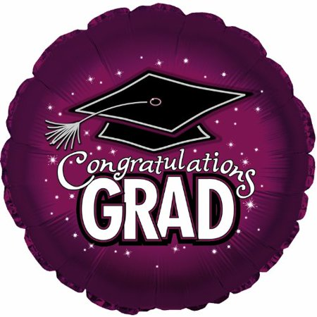 18 Inch Grad Hat Maroon Balloons, Graduation party balloons By CTI Industries Corp