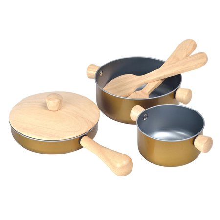 Recycled Wood 5-Piece Eco-Friendly Water-Based Dyed Cooking Utensils Playset