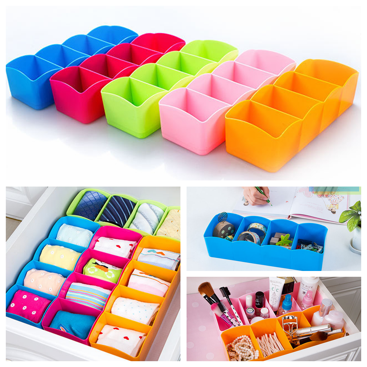 4 Cell Plastic nderwear Storage Box Organizer Drawer Divider Tie Socks Jewelry Cosmetic Makeup