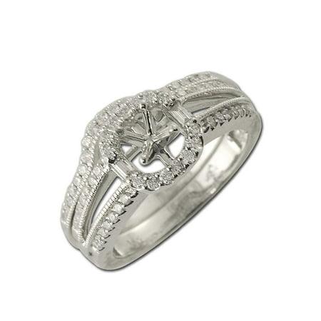 Diamond Bridal Set with Halo Semi Mount Ring & Wedding Band 0.50 ct tw in 14K White Gold.size (Semi Mount Ring Set)