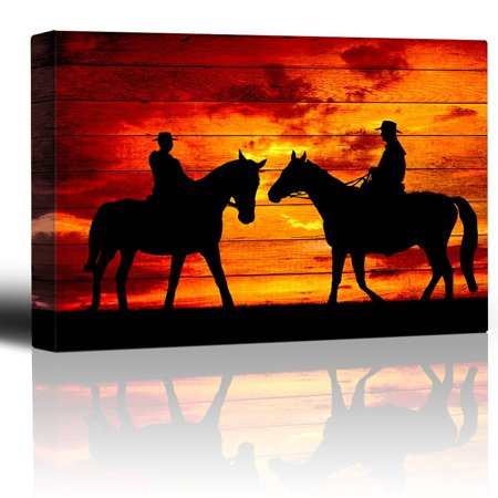Western Decore (wall26 - Two Riders Meet While on Horseback - Sunset on The Range - Cowboy Art - Country Western Silhouettes - Canvas Art Home Decor - 16x24)