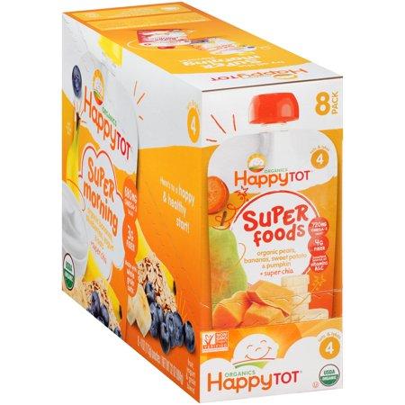 Happy Tot® Organics Super Foods Organic Pears, Bananas, Sweet Potato & Pumpkin + Super Chia Fruit & Veggie Blend 8-4.22 oz. Pouches