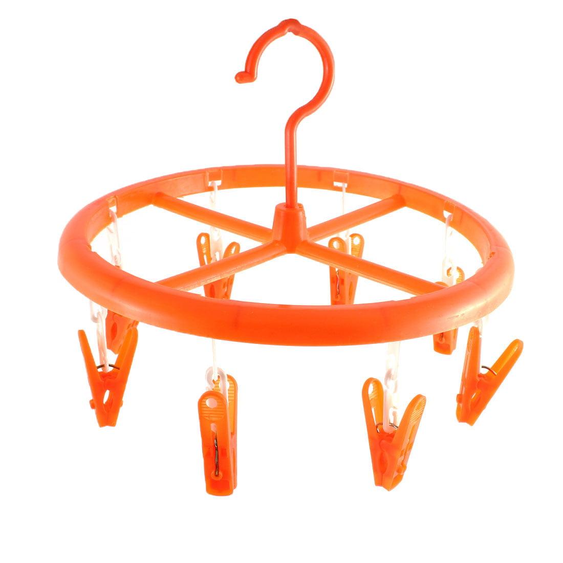 Plastic Round Shape 8 Clips Laundry Dryer Clothes Hanger 24cm Dia Orange