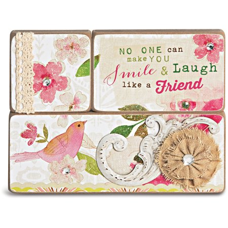 Three Piece Wooden Plaque Set with Saying