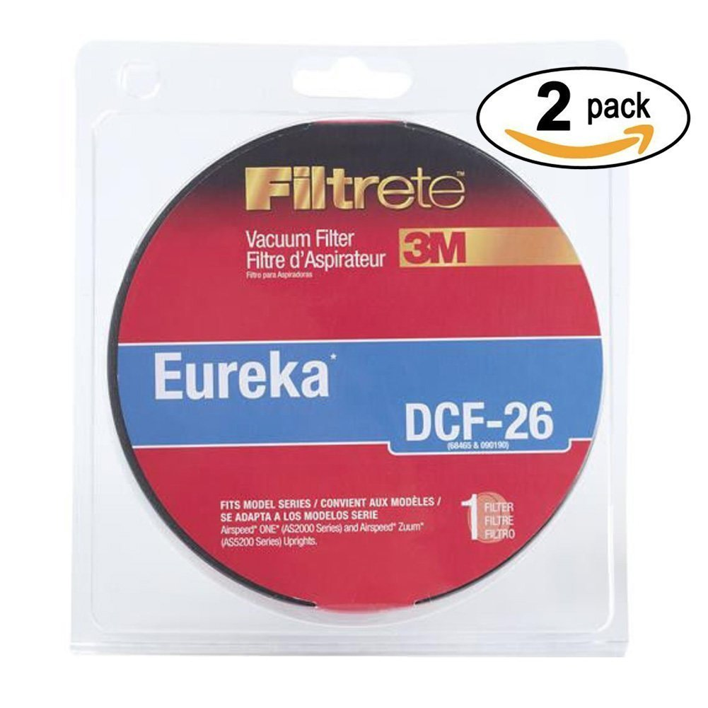 3M Eureka DCF-26 Allergen Vacuum Filter, 2pack, FITS MODEL SERIES: Airspeed ONE (AS2000 series) and Airspeed Zuum (AS5200 series) Uprights By Filtrete