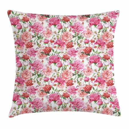 Watercolor Throw Pillow Cushion Cover, Pink Peonies and Roses Green Leaves Exotic Gentle Bouquet Bridal Wedding Theme, Decorative Square Accent Pillow Case, 18 X 18 Inches, Multicolor, by Ambesonne - Halloween Themed Wedding Bouquets