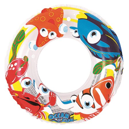 - Inflatable Clear Ocean Fun Children's Swimming Pool Inner Tube Ring Float, 20-Inch