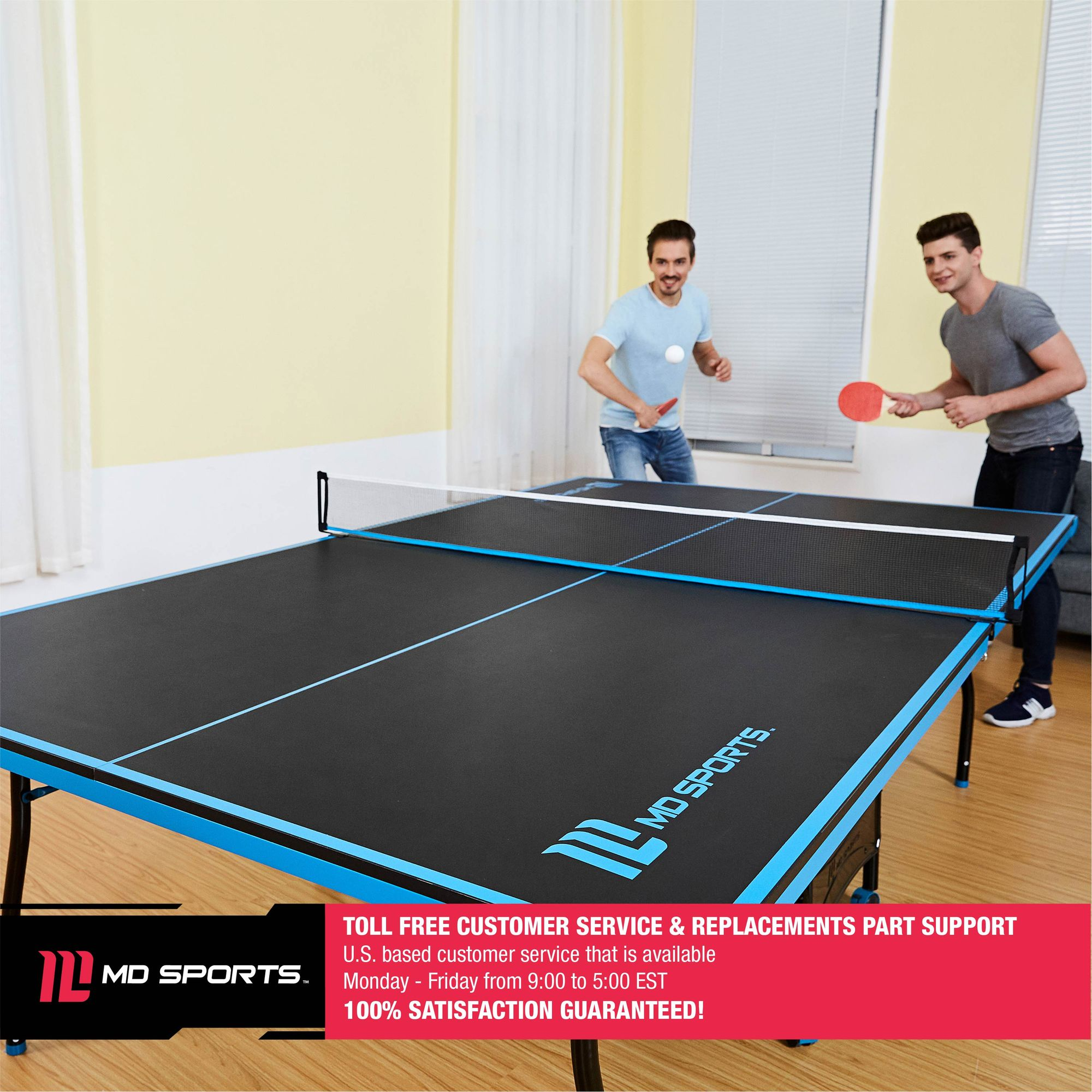 MD Sports Official Size Table Tennis Table, With Paddle And Balls,  Black/Blue   Walmart.com