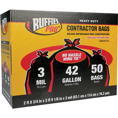 Ruffies Pro 42 Gallon Heavy Duty Contractor Bags 50 Count