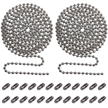 Beaded Pull Chain Extension with Connector for Ceiling Fan or Light (Pack of 2) 10 Feet Beaded Roller Chain with 12 Matching Connectors Each (3.2mm Diameter, - Lighting Iron Chain Chain